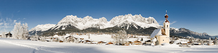 Panorama of Austrian village in the winter