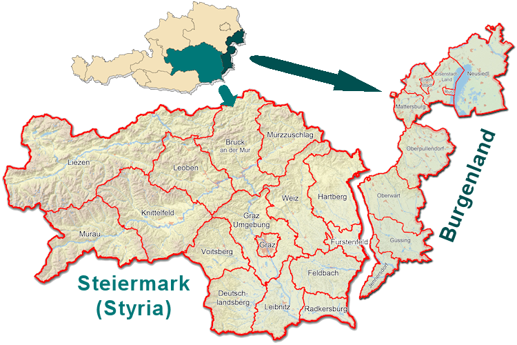 Map of the Steiermark and Burgenland